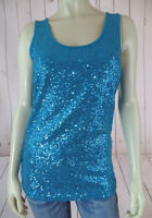 Lynn Ritchie Silver Tank Top S Teal Sequins Rayon Spandex Stretch Lined Chic