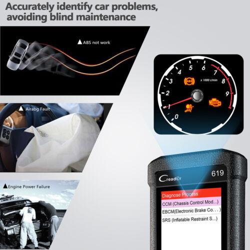 LAUNCH Cr619 Auto Car OBD2 Code Reader ABS SRS Airbag Engine Check Scan Tool US