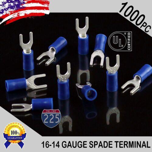1000 Pack 16-14 Gauge Vinyl Spade Fork Crimp Terminals #8 Stud Tin Copper Core