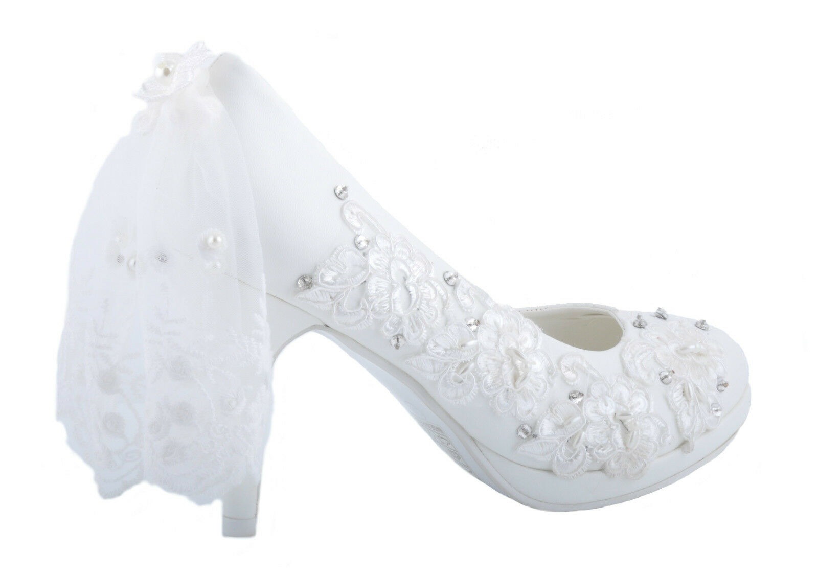Off White Lace Veil Flower and Pearl Diamante Details Platform Wedding Heels