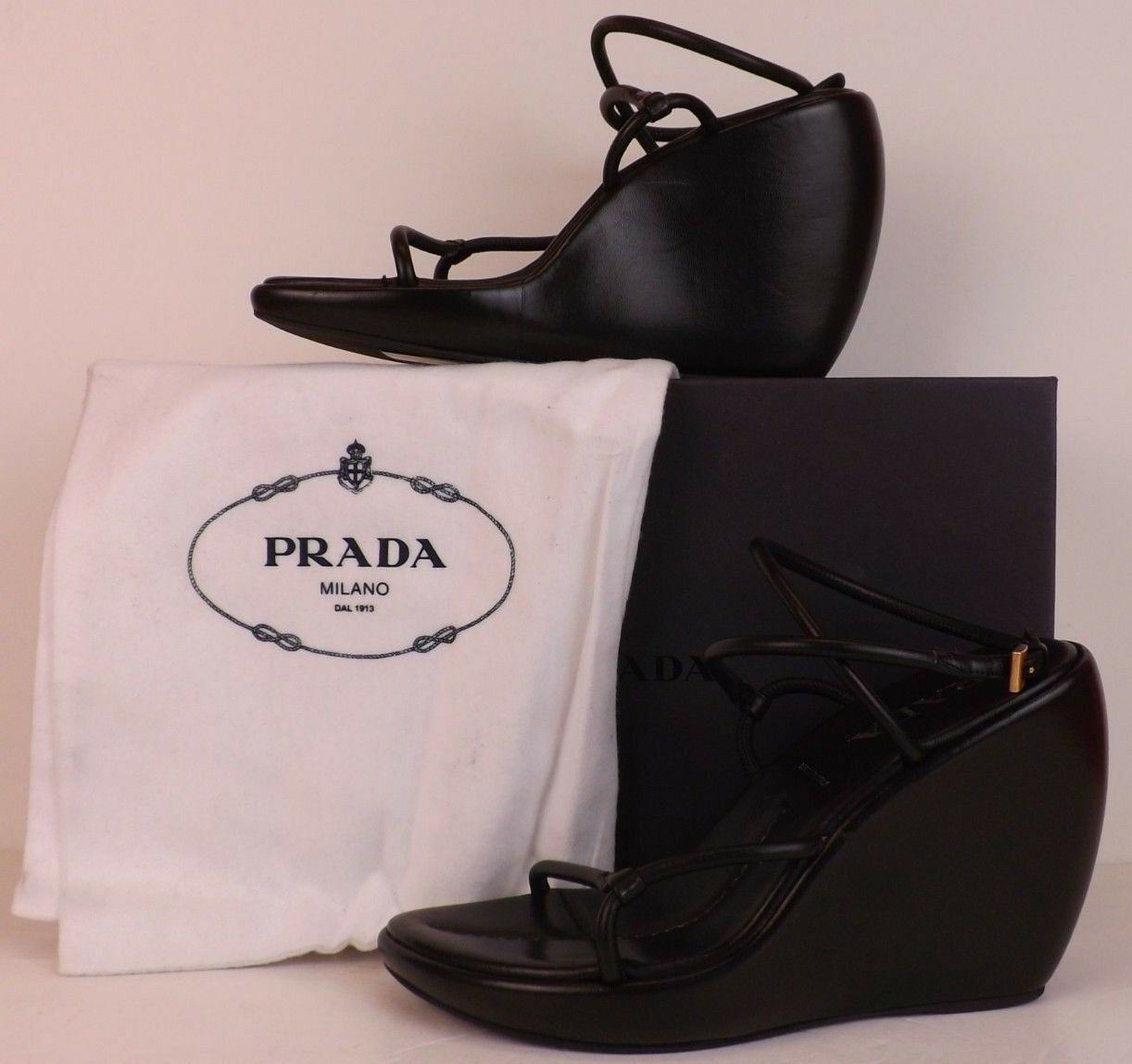 Nuevo En Caja Prada Prada Prada entrecruzadas de Cuero Negro Correa De Tobillo Tacón Con Plataforma Sandalias De Plataforma 36.5  punto de venta de la marca