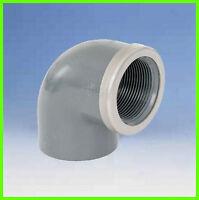 """PVC Winkel 90° 50-1 1/2"""" verstärkt Klebe-/Gewindemuffe"""