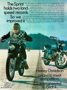 1968 Harley-Davidson Sprint H and Sprint SS Motorcycle photo vintage print ad