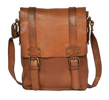 Real Leather Cross Body Messenger Bag RUST Vintage Look Double Buckle Flap Over