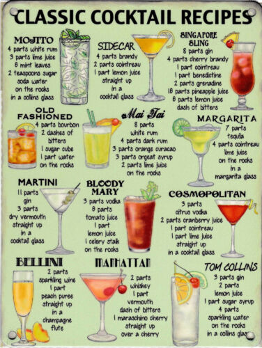 New 30x40cm Classic Cocktails large metal advertising wall sign