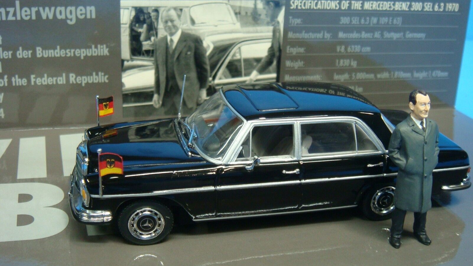 Mercedes Benz 300SEL 6.3 Willy Brandt Political Leader Minichamps 1 1 1 43 NEW 9d2183