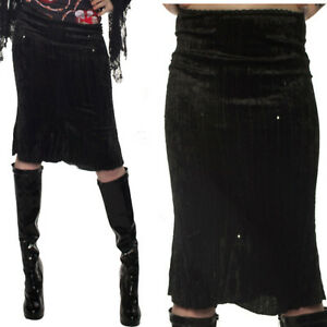 BLACK-VELOUR-PENCIL-SEQUINED-SKIRT-GOTHIC-STEAM-PUNK-ALTERNATIVE-SIZE-6-12