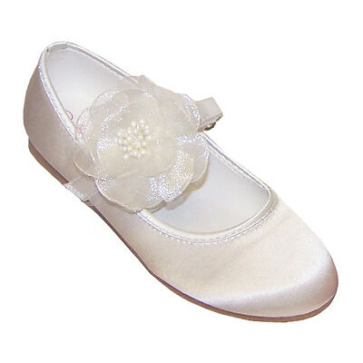 Ivory Girls Child Satin Flower Girl Ballerina Shoes Bridesmaid Wedding Party