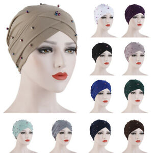 Muslim-Women-Chemo-Cap-Criss-Cross-Beads-Hijab-Turban-Scarf-Head-Wrap-Bonnet-New