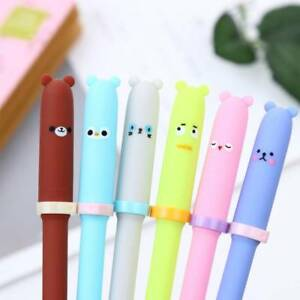 Details about 6 Pcs Creative Animal Expression Gel Pens Kawaii Pen Korean  Stationery Gifts
