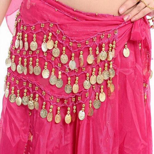 New Chiffon Belly Dance Hip Scarf 3 Rows Coin Belt Skirt GNUS