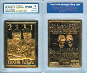 Cal-RIPKEN-amp-Lou-GEHRIG-1995-Iron-Men-23KT-Gold-Card-Sculpted-Graded-GEM-MINT-10