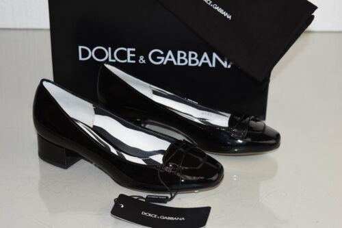 amp; Gabbana Dolce Chaussure Talon Décolleté 38 5 Mocassins Bloc Noir Verni Neuf TwfqayCw