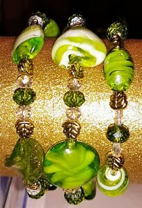 New-Memory-Wire-Wrapped-Bracelet-With-Green-and-Gold-Toned-Glass-Beads-Handmade