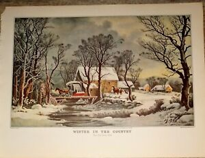 Winter In The Country Mid-1800's  Log Cabin Snow Horse Cows Reprint Currier Ives