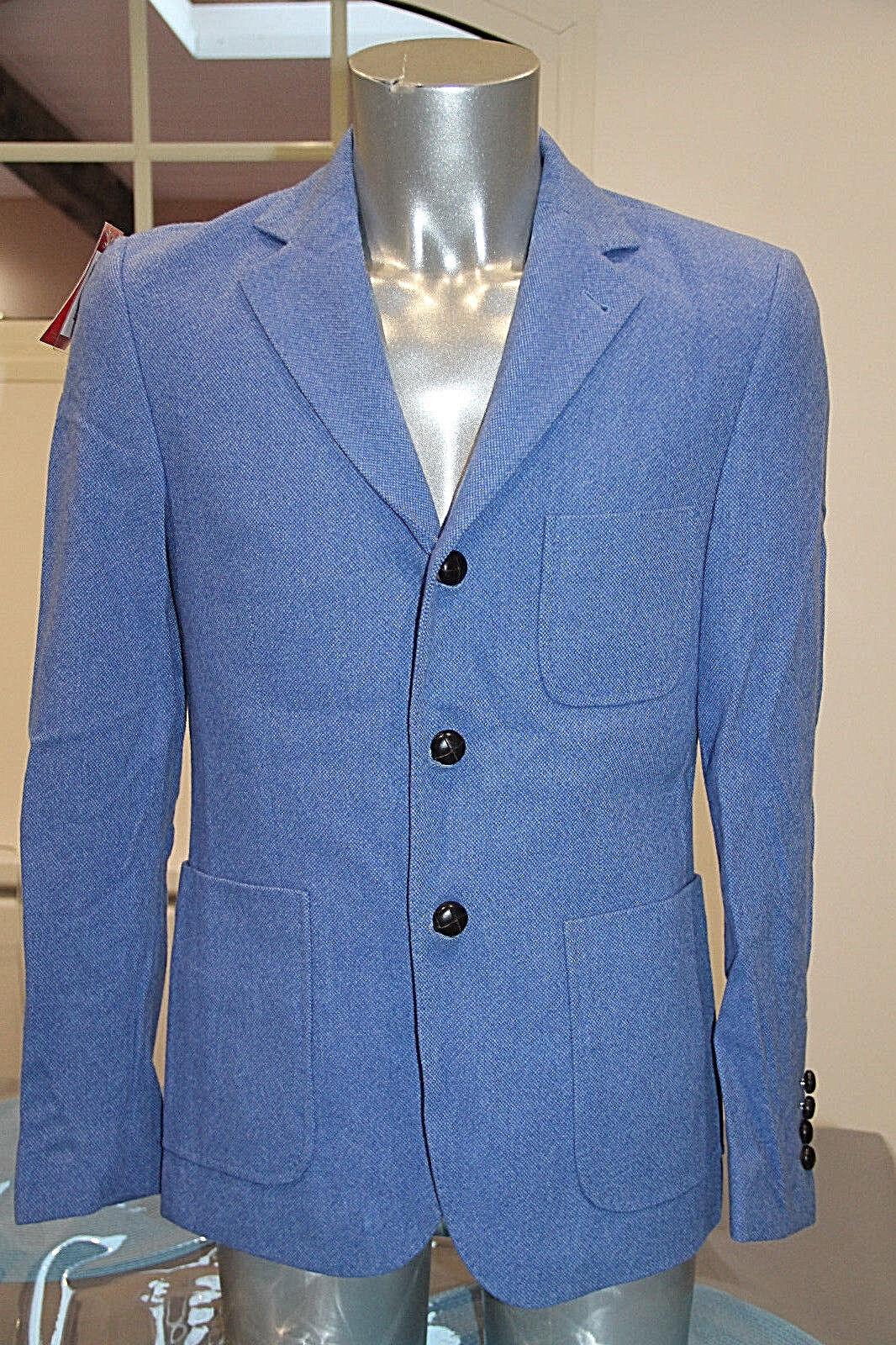 Luxueuse veste en laine tissée bleu pour homme VICOMTE A. Taille 46 neuve