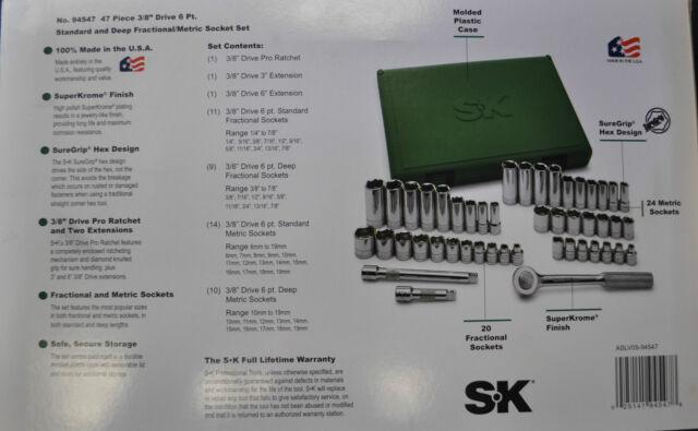 SAE /& Metric Sockets Set Made in USA SK 94547 3//8 Dr 47 Pcs 6 Point.Std /& Deep