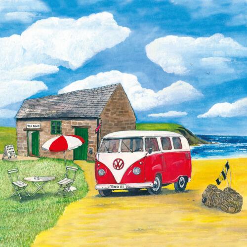 Sue podbery VW Camper Rojo Posavasos de vidrio hecho en el Reino Unido 3477