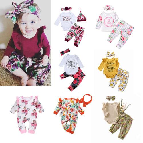 Newborn Baby Girl Clothes Flower Jumpsuit Romper Bodysuit+Headband Pants Outfit