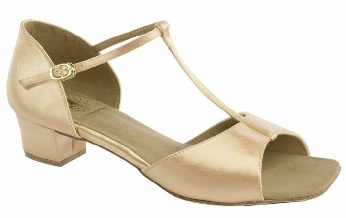 Girls flesh satin ballroom shoes by Supadance style 1006 size 11