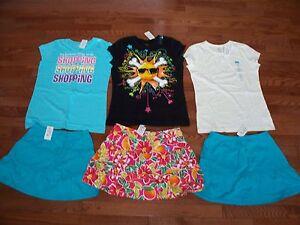 6-Pcs-Girls-Cute-Comfy-T-039-s-amp-Skorts-Size-10-12-NWT