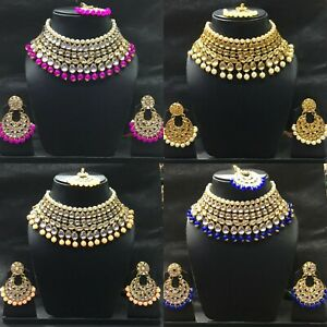 Indian Bridal Kundan Choker Necklace Earrings Bollywood Wedding