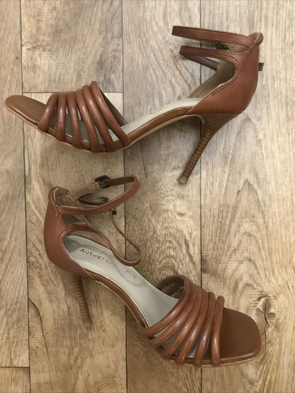 M&S Autograph Brown Leather Strappy Heeled Ankle Strap Sandals UK 4.5