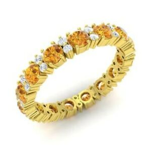 1-95-Ct-Citrine-Eternity-Engagement-Band-14K-Yellow-Gold-Diamond-Ring-Size-M-N-P
