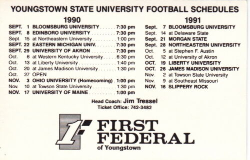 1990 YOUNGSTOWN STATE UNIVERSITY PENGUINS FOOTBALL POCKET SCHEDULE