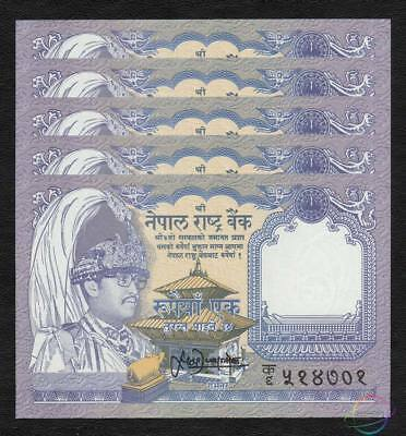 NEPAL 1 Rupee X 5 PCS 1991 P-37 1//20 Bundle UNC Uncirculated