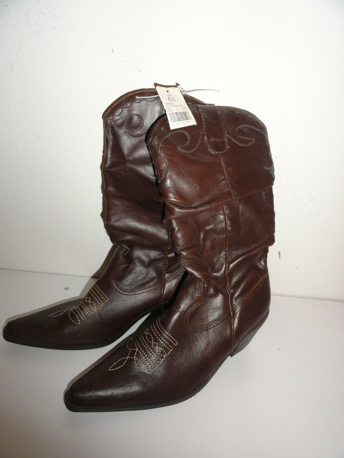 WOMEN'S BROWN COWBOY BOOTS-SIZE 6 1/2-NEW WITH TAGS