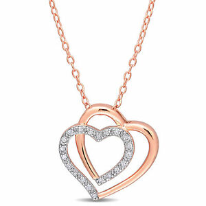 Amour Rose Silver Diamond Heart Necklace