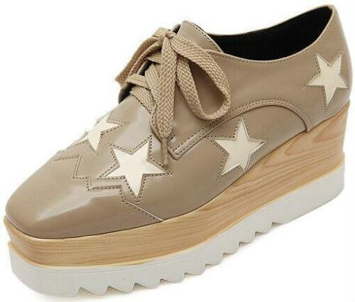 Brown Womens Star Lace Up Platform Wedge High Heel Oxford Shoes Fashion Pumps Sz