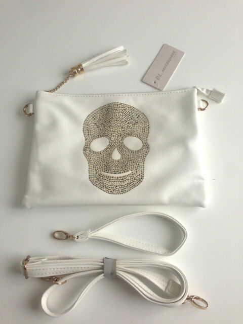 Pochette/Sac/Compagnon Tête de mort Strass Blanc aspect cuir