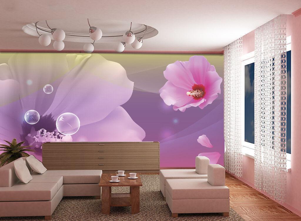 3D Lila Blumen Blasen 8956 Tapete Wandgemälde Tapeten Bild Familie DE Lemon