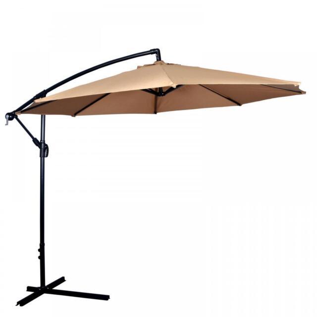new tan patio umbrella offset 10 hanging umbrella outdoor market umbrella d10 - Patio Umbrellas
