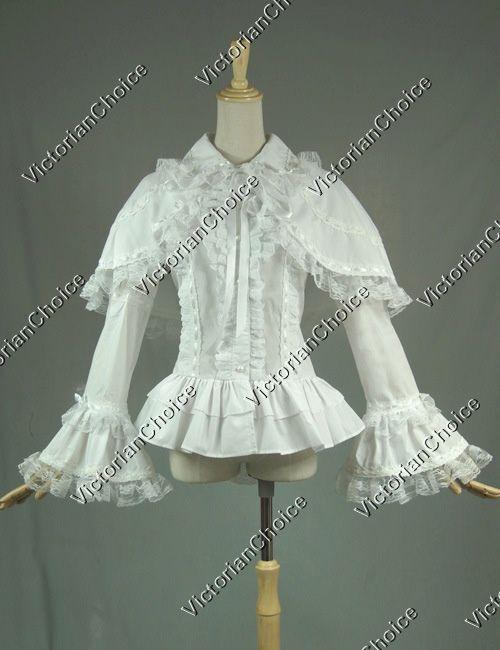 VictorianChoice Gothic Weiß Cotton Romantic Lace Ruffle Blouse Top Cape N B019
