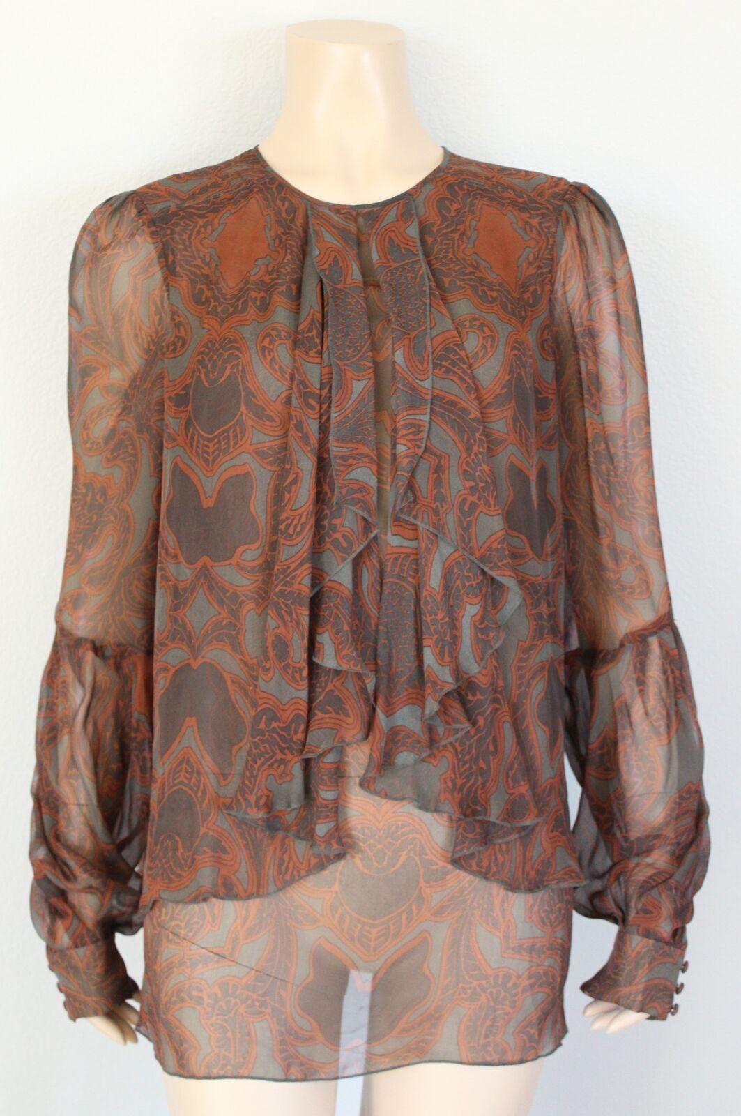 PROENZA SCHOULER 100% Silk Sheer Ruffled Bishop Sleeve Top, Größe 6