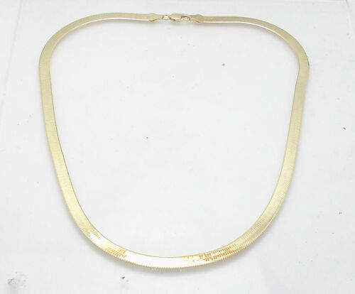 Technibond 5.2mm Herringbone Chain Necklace 14K Yellow Gold Clad Sterling Silver