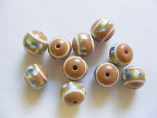 10 round  Acrylic/ Resin Beads - Brown - 12mm x 10mm
