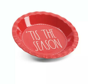 Rae-Dunn-RED-CHRISTMAS-Tis-the-Season-Pie-Plate-10-75-Diameter-New