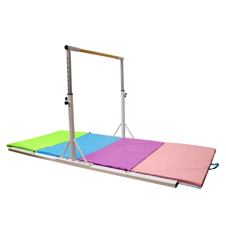 Horizontal Bar w  Gym Mat Adjustable Gymnastics Training  Sports Equipment White  up to 70% off