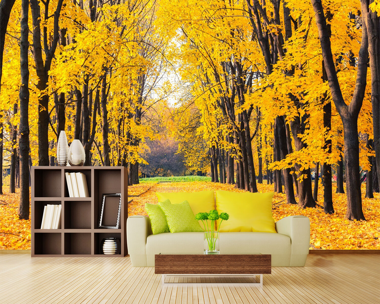 3D Gelb park tree Wall Paper wall Print Decal Wall Deco Indoor wall Mural