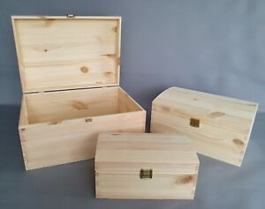 Plain Wood Storage Box Chest Craft Home Room Decor Lid Hinges Boxes Trunk