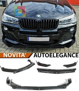 BMW X4 F26 LAMA SOTTO PARAURTI ANTERIORE IN ABS LOOK RS NERO SPLITTER -