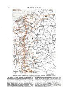 "WWI 1914 Map Carte Ostende Nieuport Lille Belgique Kronprinz Army A ILLUSTRATION - France - Commentaires du vendeur : ""OCCASION"" - France"