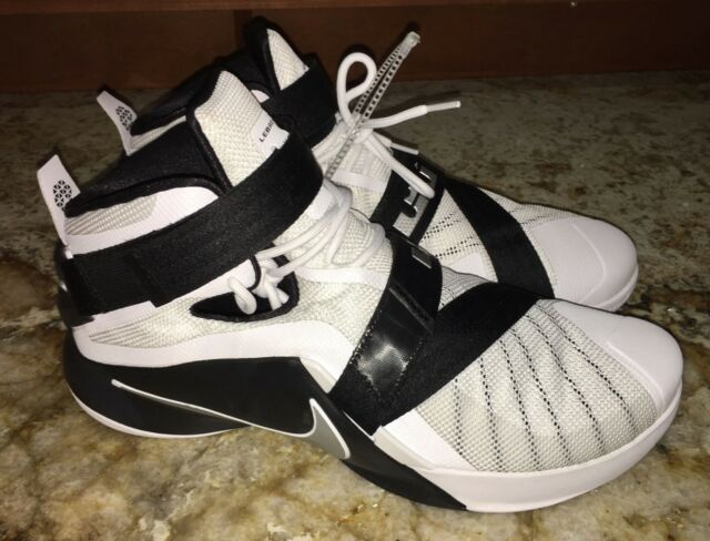 pretty nice 2a762 d2aae NIKE LeBron Soldier IX 9 White Black Basketball Shoes Sneakers NEW Big Mens  17