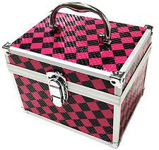 Pink Aluminium Beauty Checker Cosmetic Box Nail Make Up Vanity Salon Tech Case