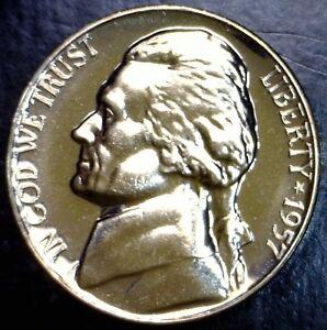 1957-GEM-PROOF-Jefferson-Nickel-Coin-SUPERB-BLAZING-PRF-LOT-3-NO-RESERVE