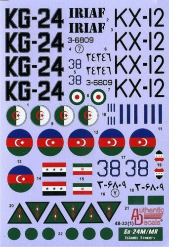 1:48 Authentic Decals #4832 Su-24M//MR Fencer D//E Islamic Fencers